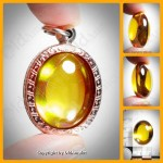YELLOW OVAL NAGA-EYE +PANDENTS THAI HOLY AMULET GEMSTONE 100%REAL SIZE-M